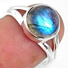 4.24cts natural blue labradorite 925 silver solitaire ring jewelry size 6 r66360