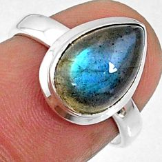 4.34cts natural blue labradorite 925 silver solitaire ring jewelry size 6 r66369