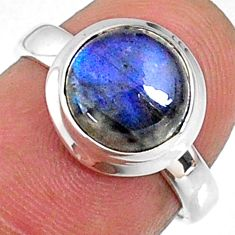 4.24cts natural blue labradorite 925 silver solitaire ring jewelry size 6 r66380