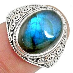 6.36cts natural blue labradorite silver solitaire handmade ring size 6 r73434