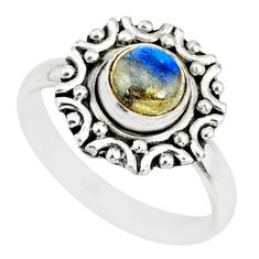 1.32cts natural blue labradorite silver solitaire handmade ring size 6 r82120
