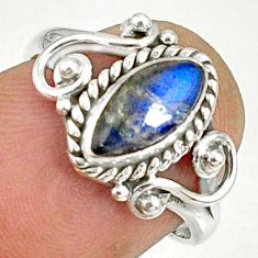 2.46cts natural blue labradorite silver solitaire handmade ring size 6 r82137