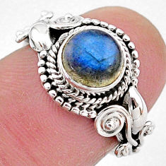 2.53cts natural blue labradorite 925 silver solitaire ring jewelry size 6 t2104