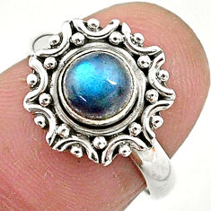 1.10cts natural blue labradorite 925 silver solitaire ring jewelry size 6 t4574