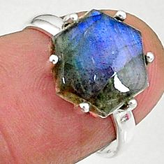 4.84cts natural blue labradorite 925 silver solitaire handmade ring size 6 t8306