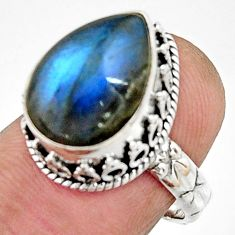 6.57cts natural blue labradorite 925 silver solitaire ring jewelry size 7 r22281