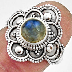 2.53cts natural blue labradorite 925 silver solitaire ring jewelry size 7 r22487