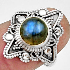 3.46cts natural blue labradorite 925 silver solitaire ring jewelry size 7 r22494