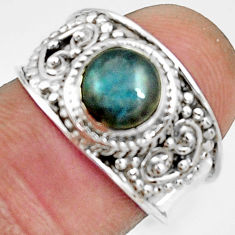 2.41cts natural blue labradorite 925 silver solitaire ring jewelry size 7 r22591