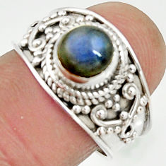 2.71cts natural blue labradorite 925 silver solitaire ring jewelry size 7 r22617
