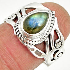 2.56cts natural blue labradorite 925 silver solitaire ring jewelry size 7 r26251