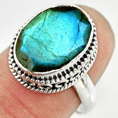 6.46cts natural blue labradorite 925 silver solitaire ring jewelry size 7 r26310