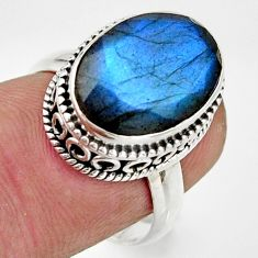 6.48cts natural blue labradorite 925 silver solitaire ring jewelry size 7 r26496