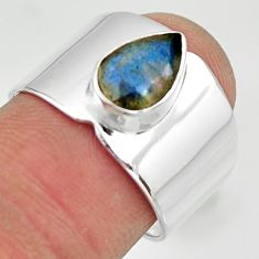 2.22cts natural blue labradorite 925 silver solitaire ring jewelry size 7 r26830