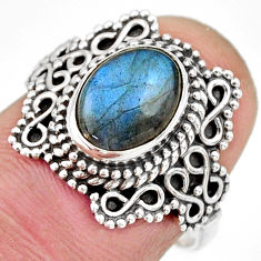 3.11cts natural blue labradorite 925 silver solitaire ring jewelry size 7 r27000