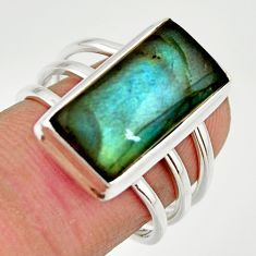 6.83cts natural blue labradorite 925 silver solitaire ring jewelry size 7 r27126