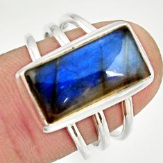 6.59cts natural blue labradorite 925 silver solitaire ring jewelry size 7 r27132