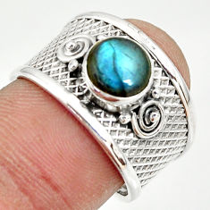 2.25cts natural blue labradorite 925 silver solitaire ring jewelry size 7 r34678