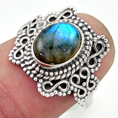 3.01cts natural blue labradorite 925 silver solitaire ring jewelry size 7 r40495