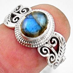 2.01cts natural blue labradorite 925 silver solitaire ring jewelry size 7 r40976