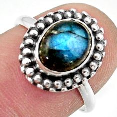 3.05cts natural blue labradorite 925 silver solitaire ring jewelry size 7 r41451