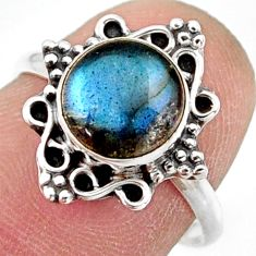 2.89cts natural blue labradorite 925 silver solitaire ring jewelry size 7 r41495