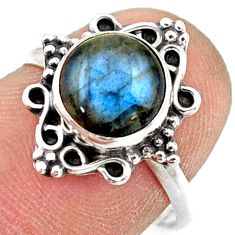 2.96cts natural blue labradorite 925 silver solitaire ring jewelry size 7 r41496