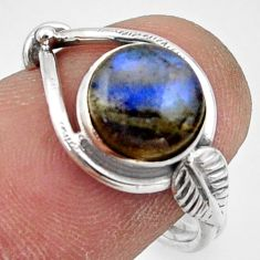 3.05cts natural blue labradorite 925 silver solitaire ring jewelry size 7 r41537