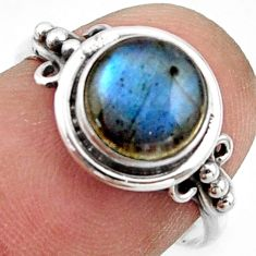 3.42cts natural blue labradorite 925 silver solitaire ring jewelry size 7 r41590