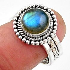 3.19cts natural blue labradorite 925 silver solitaire ring jewelry size 7 r54312