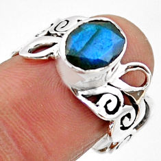 3.01cts natural blue labradorite 925 silver solitaire ring jewelry size 7 r54700