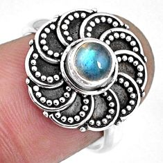 0.90cts natural blue labradorite 925 silver solitaire ring jewelry size 7 r57897