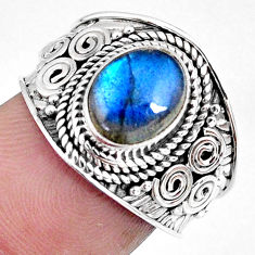 3.01cts natural blue labradorite 925 silver solitaire ring jewelry size 7 r57952