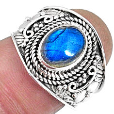 3.48cts natural blue labradorite 925 silver solitaire ring jewelry size 7 r57954