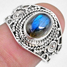 3.01cts natural blue labradorite 925 silver solitaire ring jewelry size 7 r58335