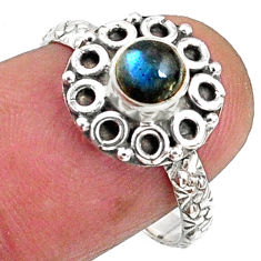 1.01cts natural blue labradorite 925 silver solitaire ring jewelry size 7 r64797