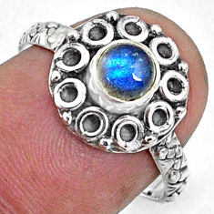 0.86cts natural blue labradorite 925 silver solitaire ring jewelry size 7 r64831