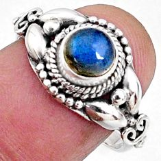 1.30cts natural blue labradorite 925 silver solitaire ring jewelry size 7 r64851