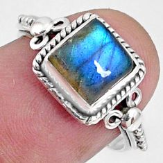 3.32cts natural blue labradorite 925 silver solitaire ring jewelry size 7 r64896