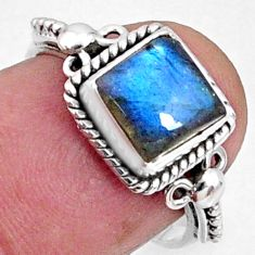 2.27cts natural blue labradorite 925 silver solitaire ring jewelry size 7 r64912