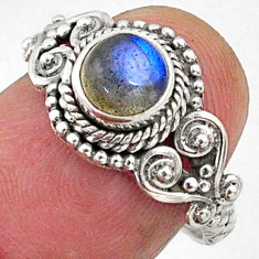 1.30cts natural blue labradorite 925 silver solitaire ring jewelry size 7 r64948