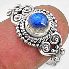 1.30cts natural blue labradorite 925 silver solitaire ring jewelry size 7 r64950