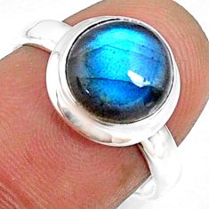 4.10cts natural blue labradorite 925 silver solitaire ring jewelry size 7 r66345