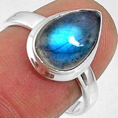 4.64cts natural blue labradorite 925 silver solitaire ring jewelry size 7 r66381