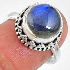 5.38cts natural blue labradorite 925 silver solitaire ring jewelry size 7 r66401