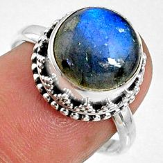 5.87cts natural blue labradorite 925 silver solitaire ring jewelry size 7 r66402
