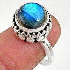 5.29cts natural blue labradorite 925 silver solitaire ring jewelry size 7 r66413