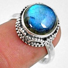5.87cts natural blue labradorite 925 silver solitaire ring jewelry size 7 r66419