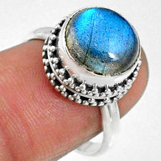 5.71cts natural blue labradorite 925 silver solitaire ring jewelry size 7 r66420