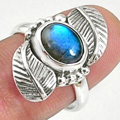3.01cts natural blue labradorite 925 silver solitaire ring jewelry size 7 r67318